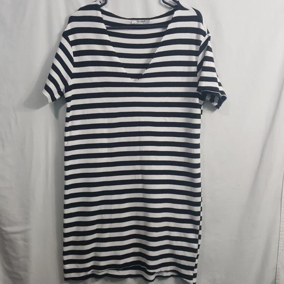 ff0e63aca5 Zara Trafaluc bold striped shirt dress raw edge. M_5c6cd430aa877021b1bf53bb